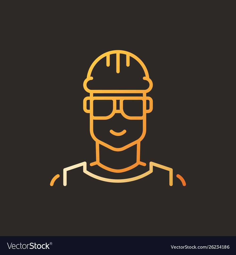 Male worker creative linear icon - builder