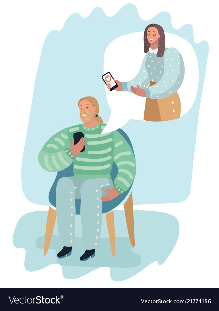 Man and woman online with smartphone
