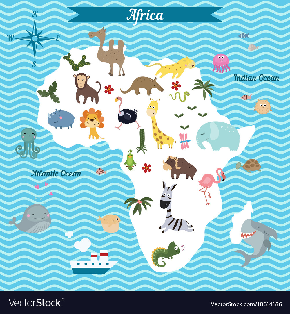 Map of Africa continent with animals Royalty Free Vector