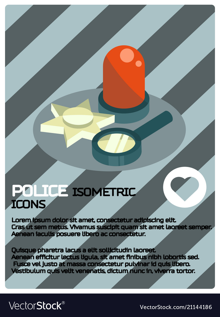 Police color isometric poster