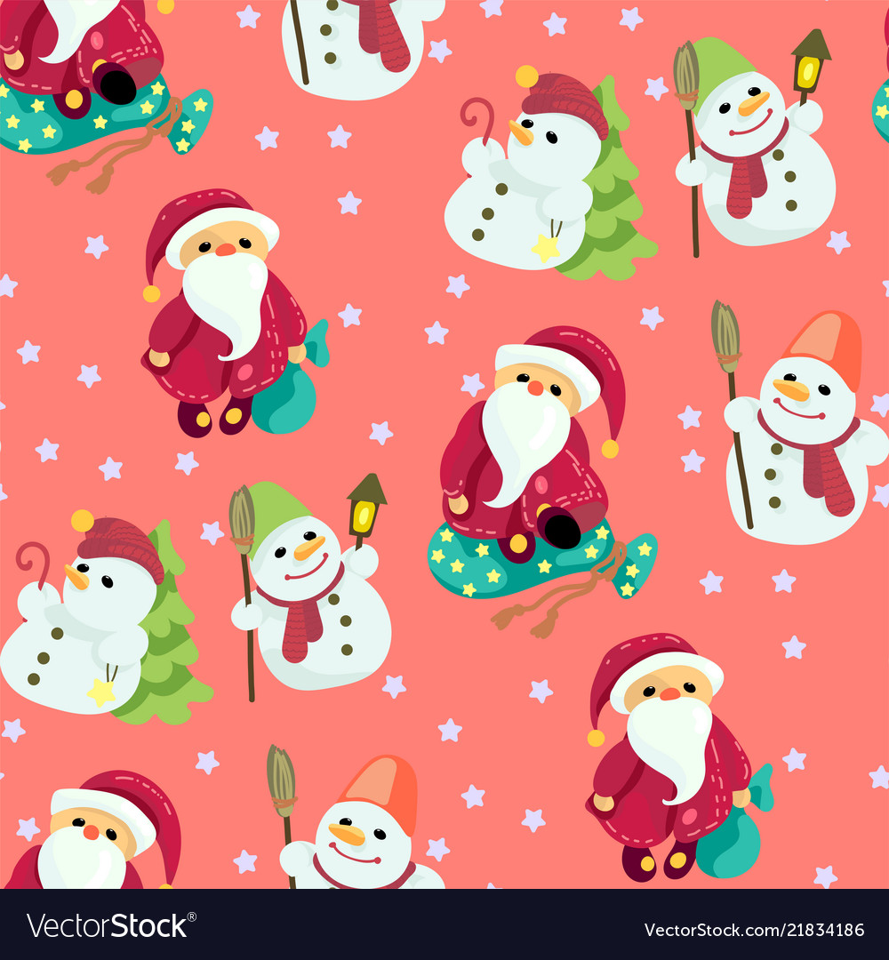 Seamless christmas pattern in graphic with cute