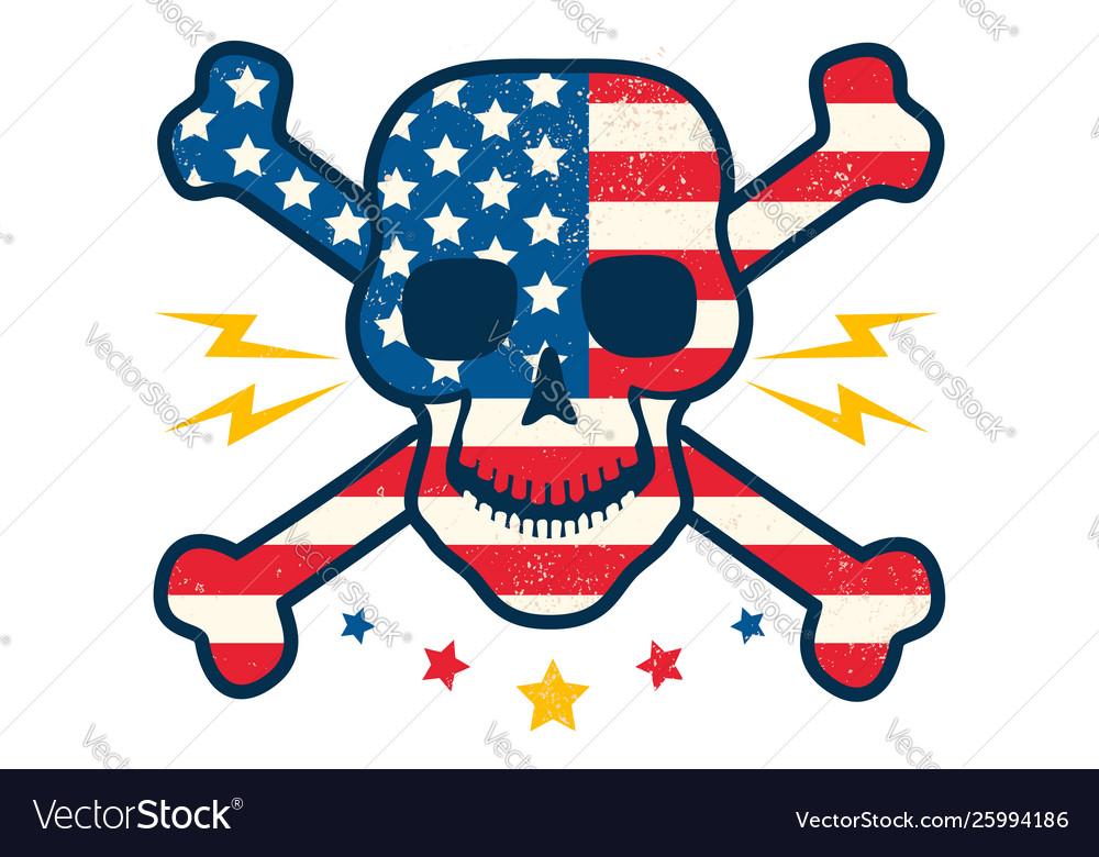 Skull with flag usa