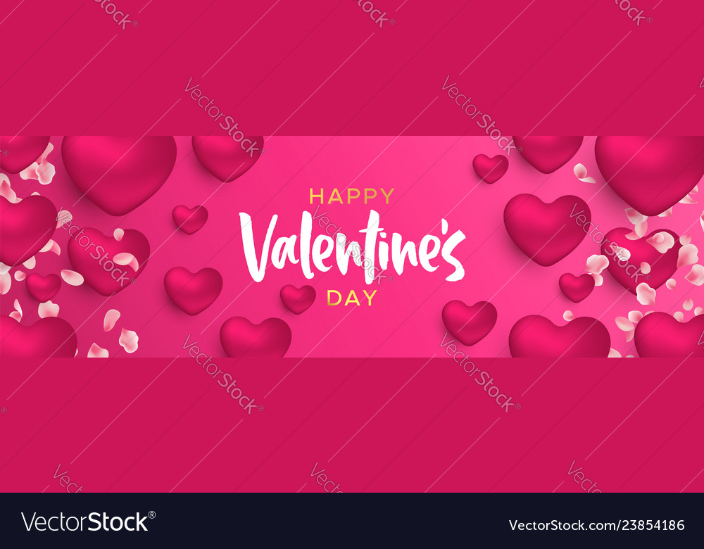 Valentines day 3d pink heart shape web banner