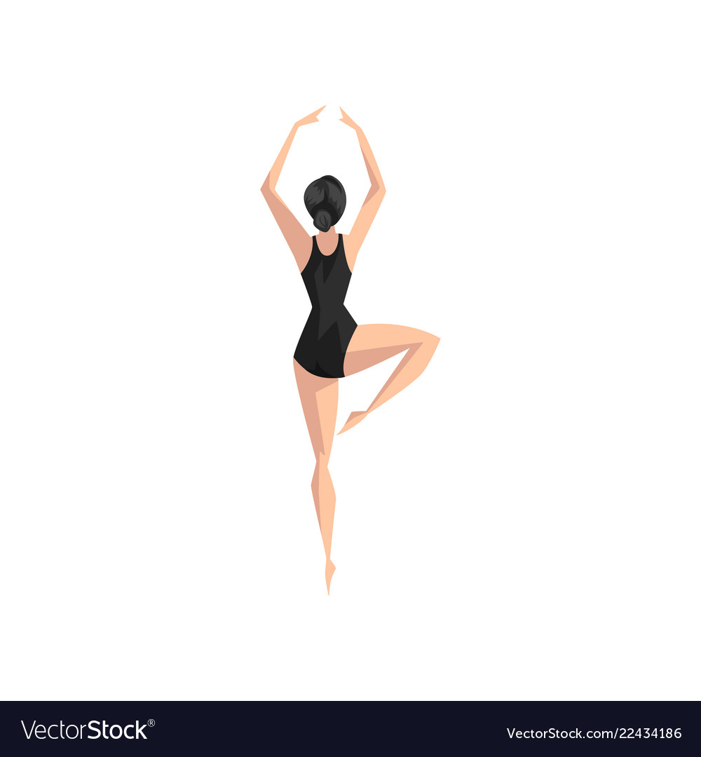 Young professional ballerina in black leotard