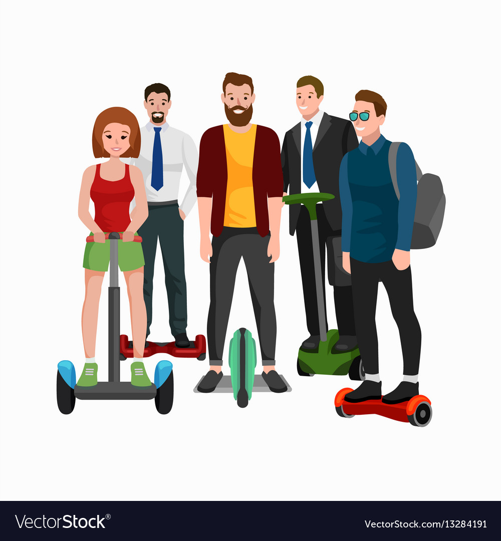 Active peoples fun with electric scooter family