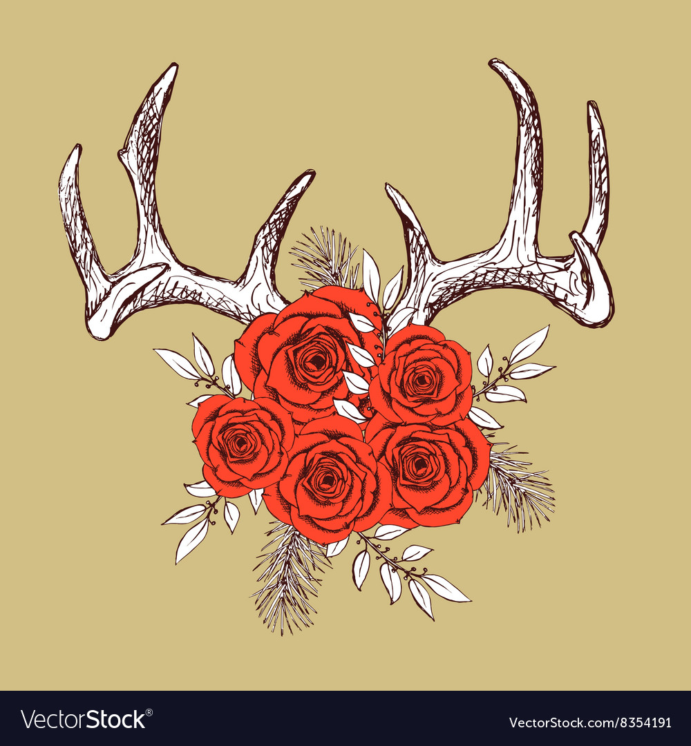 Antlers and roses