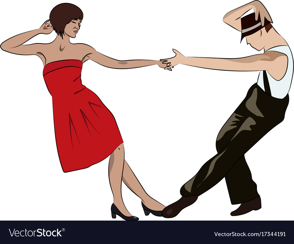 Couple man and woman dancing vintage dance pop