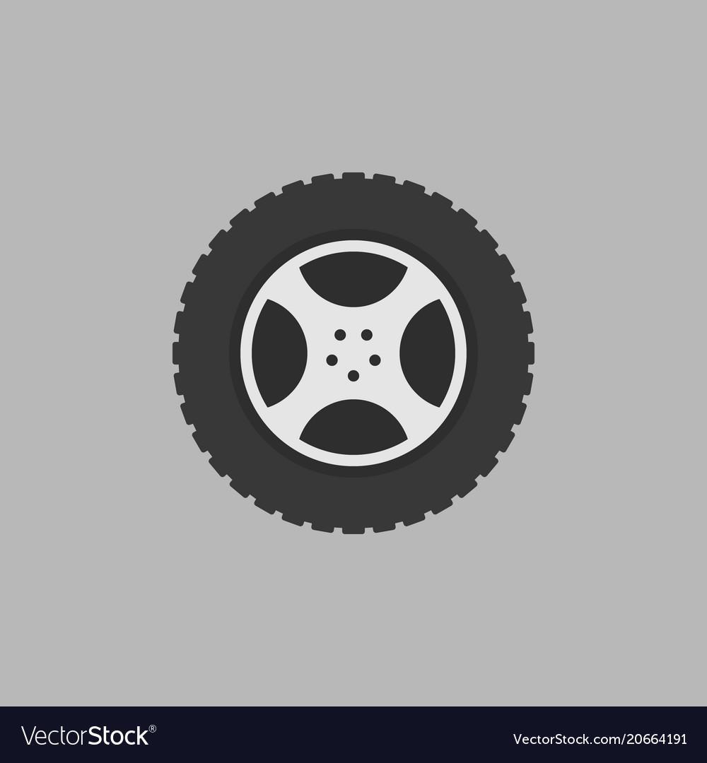 Flat car rim isolated icon on gray
