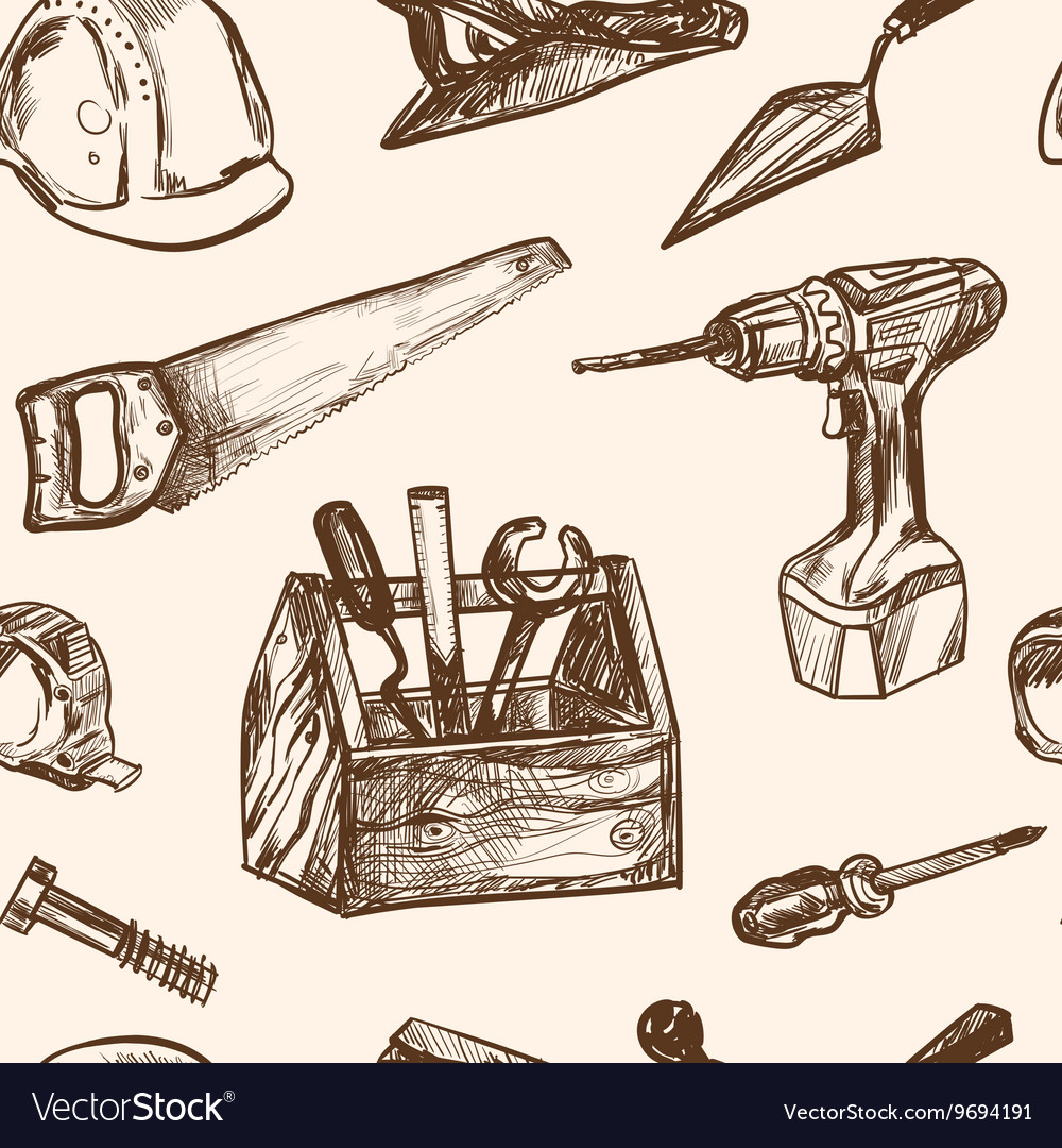 Hand drawn seamless pattern Construction tools