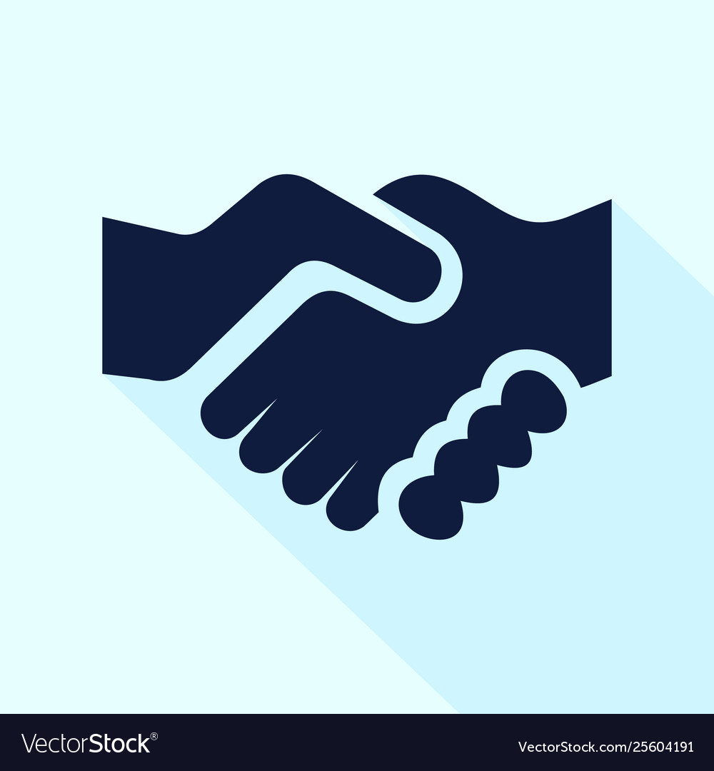 Handshake icon flat style for