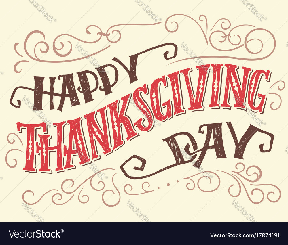 Happy thanksgiving day hand-lettering sign