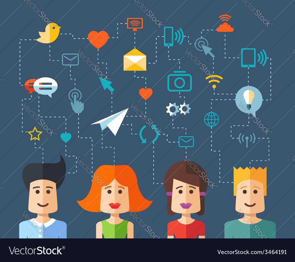 Isolated flat design people social network compo