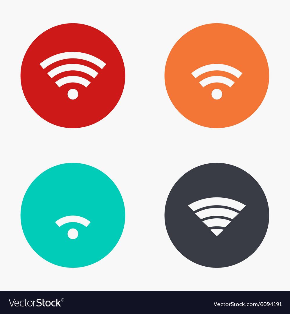 Modern wi fi colorful icons set