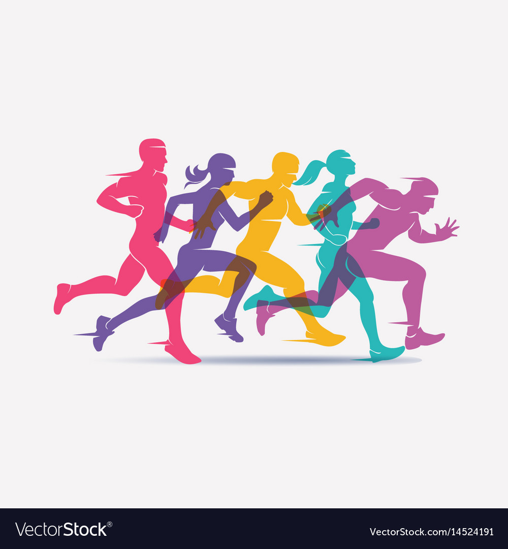 Running people set of silhouettes sport and Vector Image