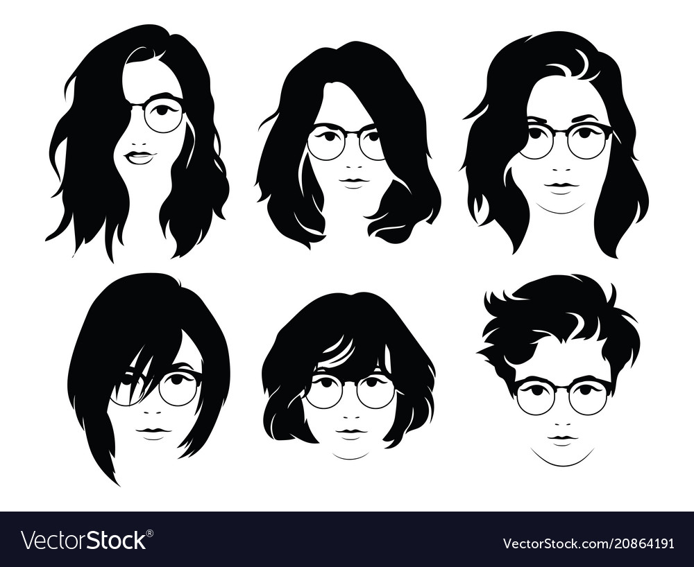 783b83bd60 Set of hairstyles for women with glasses Vector Image