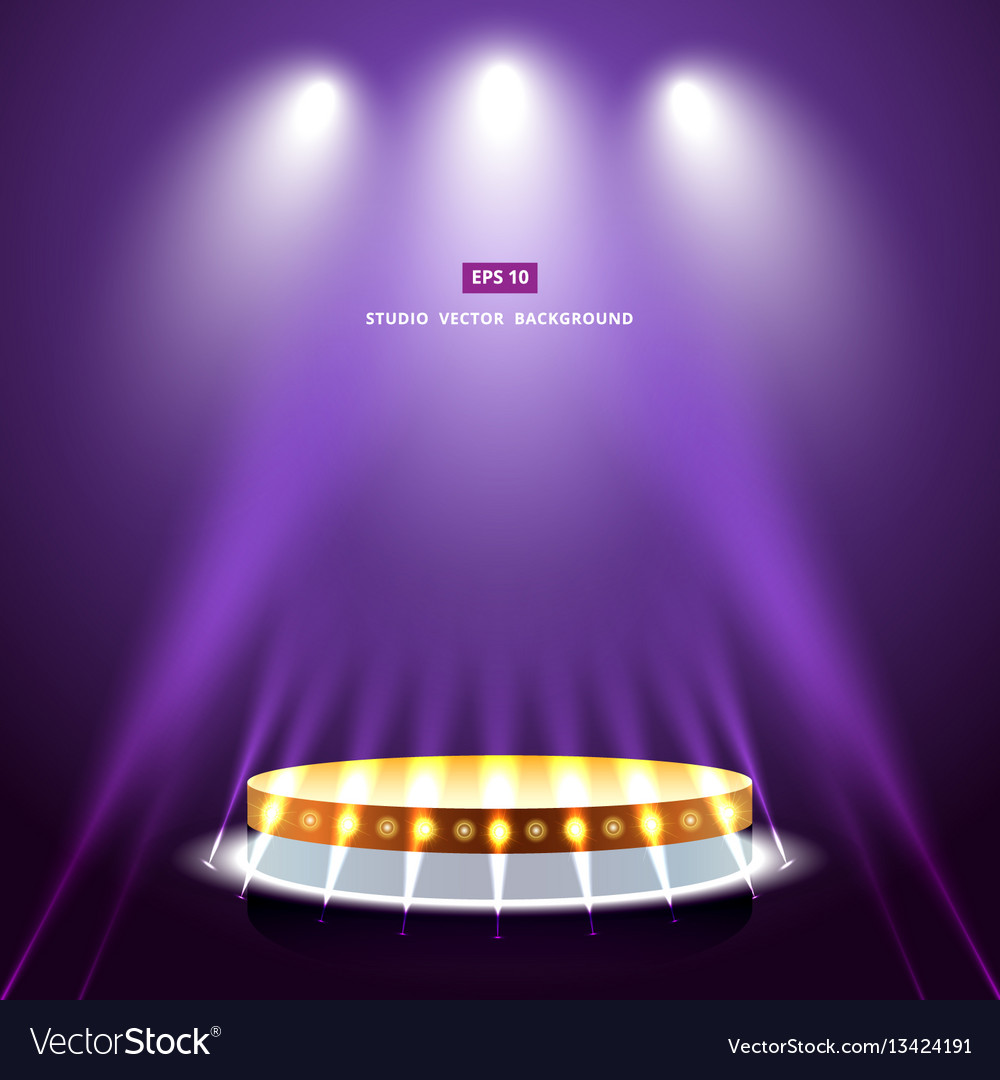 & Studio purple background with lighting and gold Vector Image