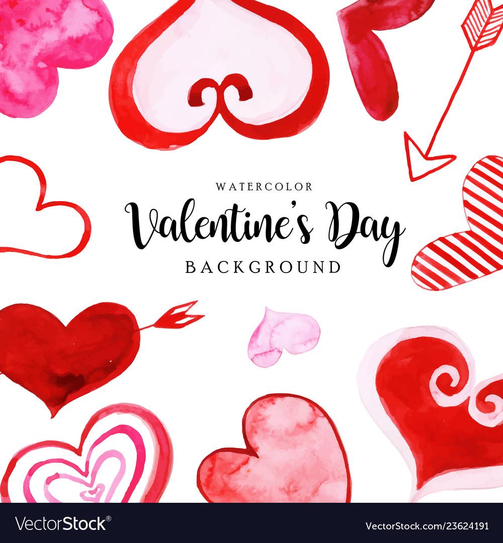 Watercolor valentine elements background