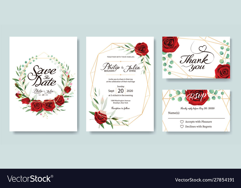 Wedding invitation save date thank you card