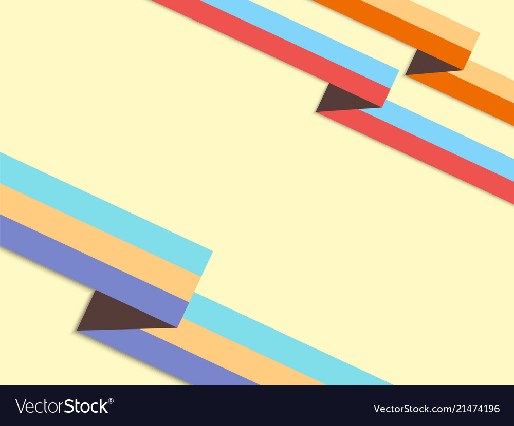 Background with retro style origami ribbons and