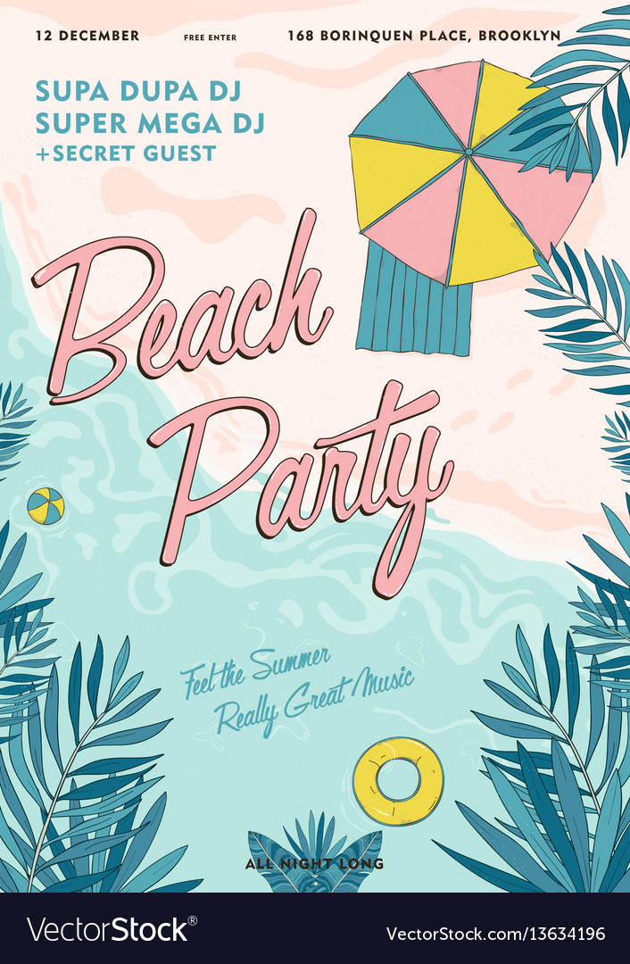 Beach party tropical poster colorful summer event vector image