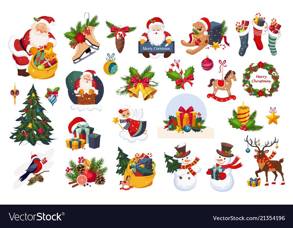 Christmas big set new year holiday decoration