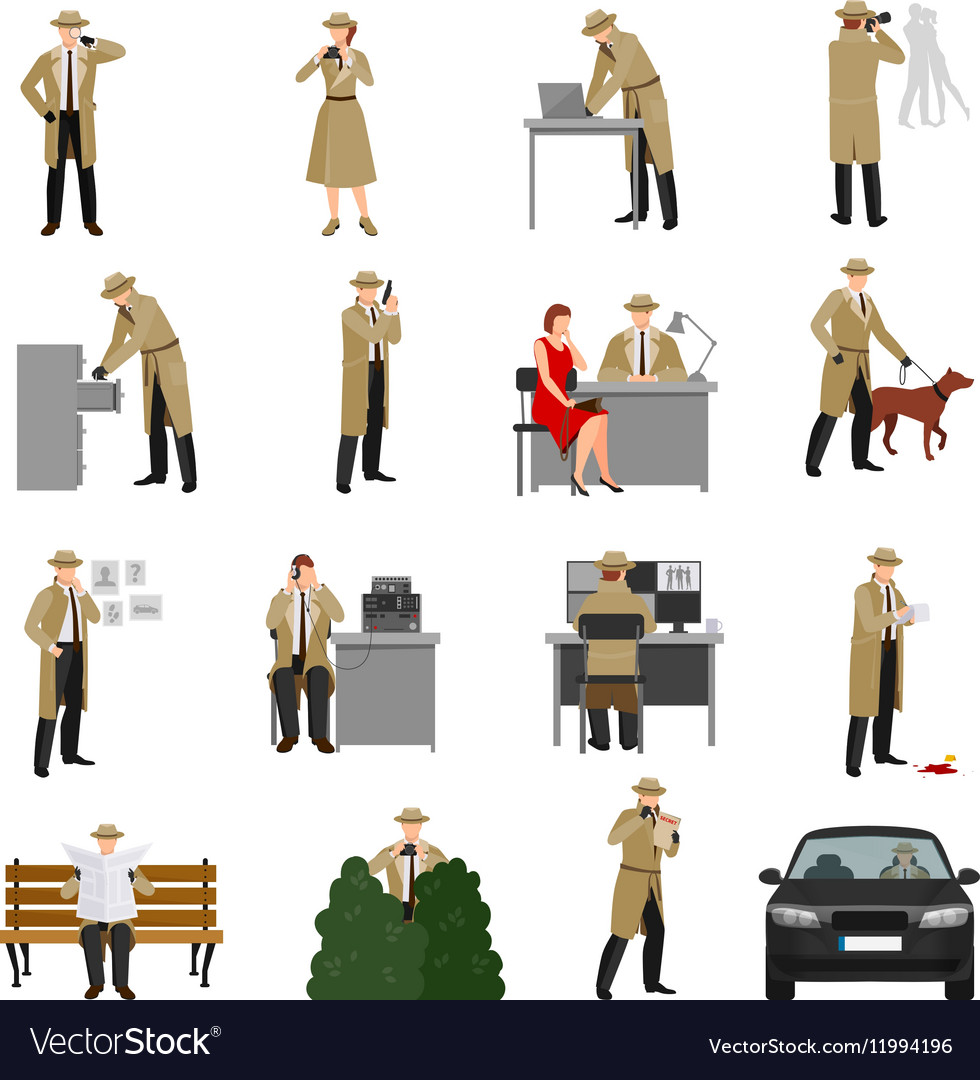 detective characters collection royalty free vector image