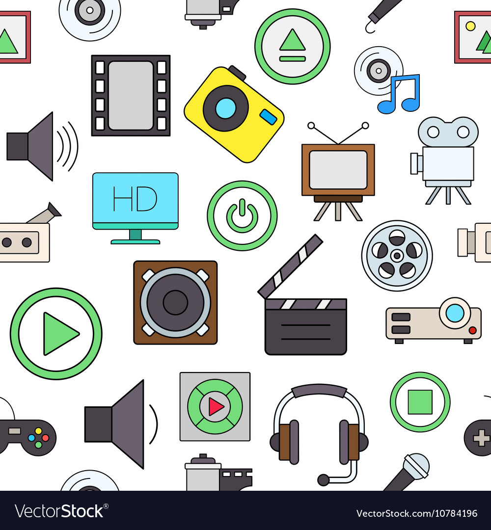 Entertainment colorful pattern icons