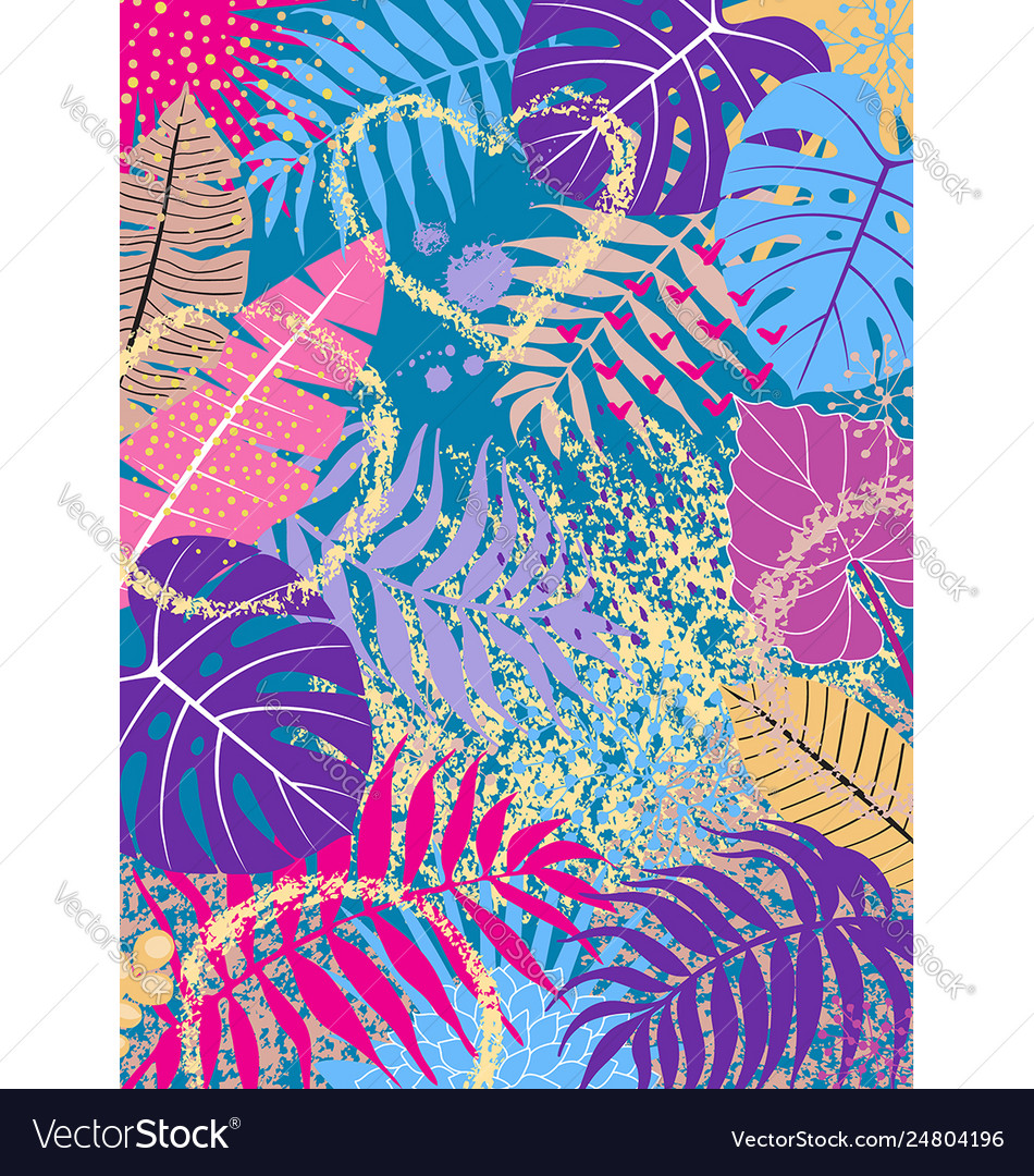 Floral background with vivid tropical leaves