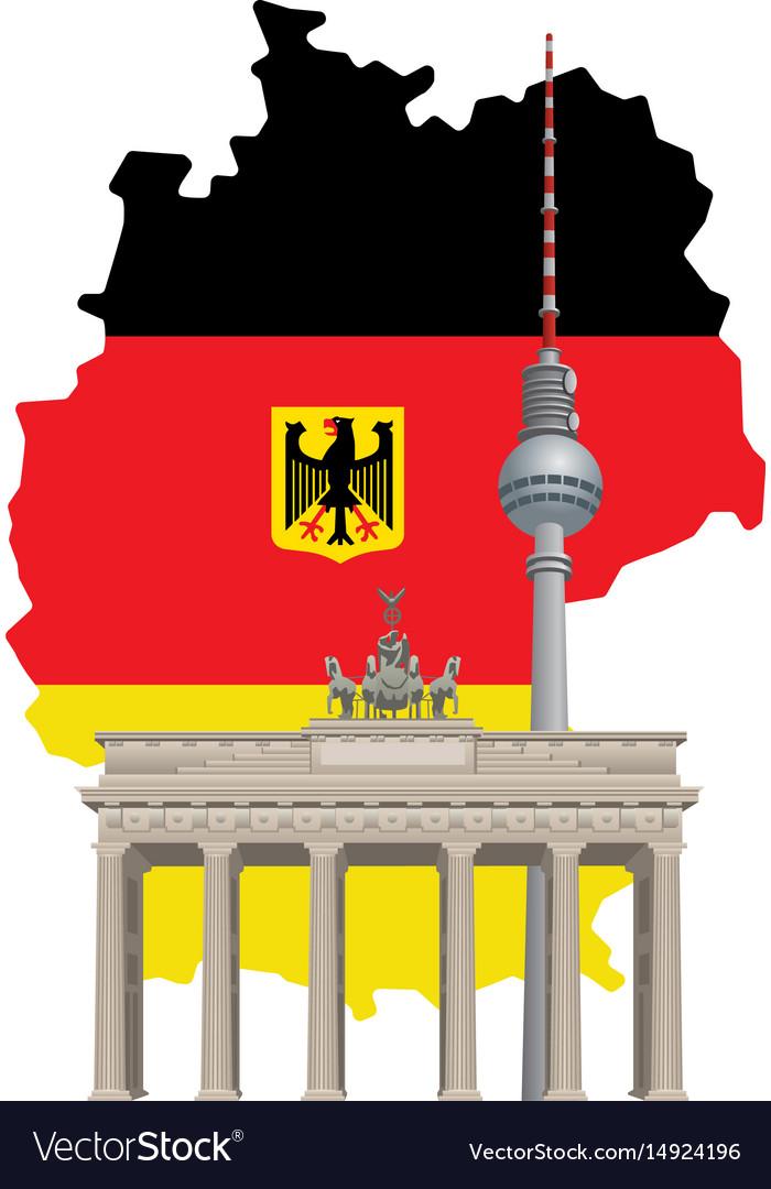 German landmarks and map