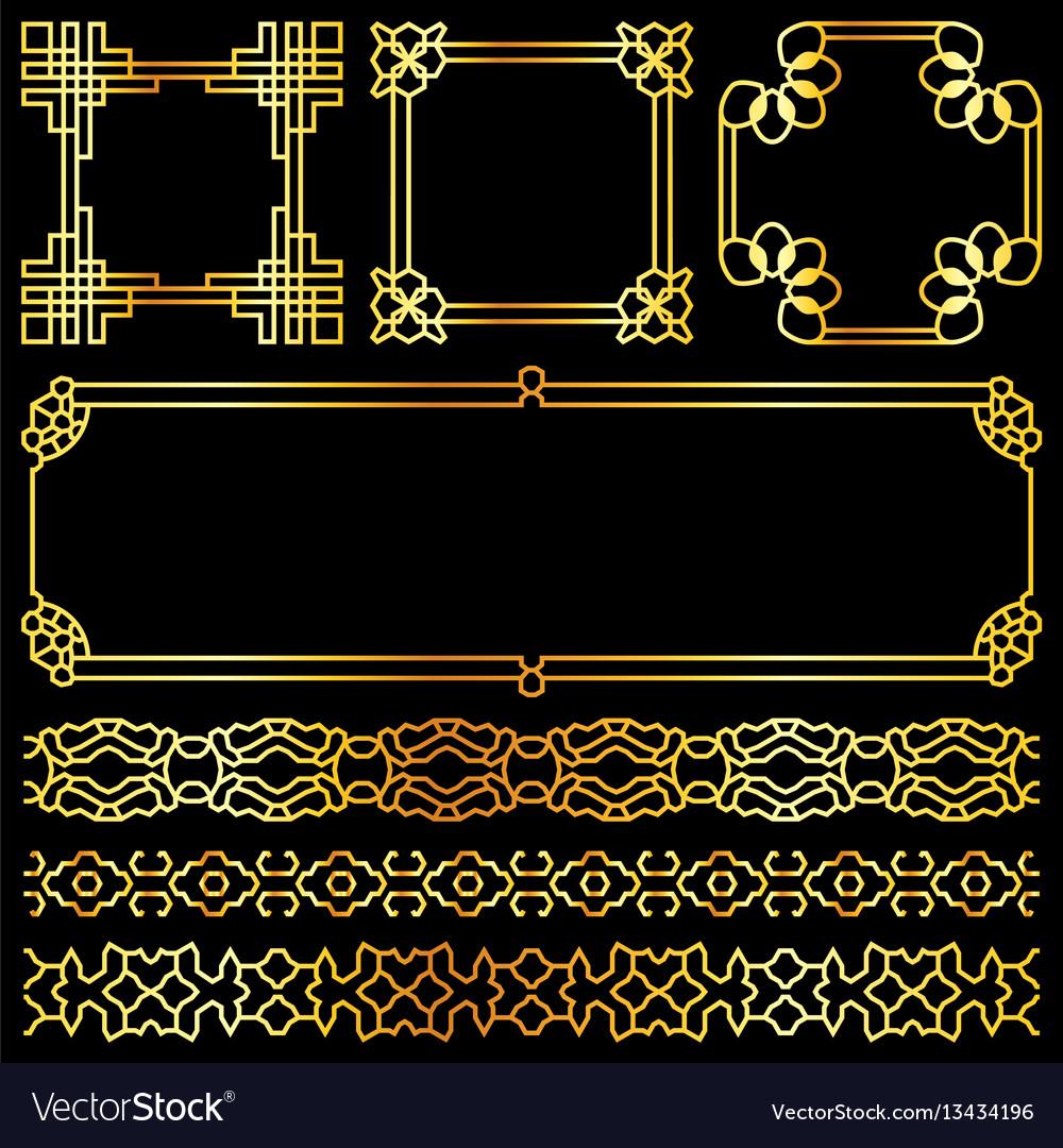 Golden asian retro frames and borders set