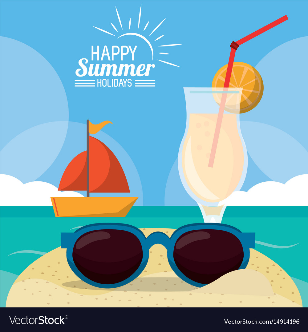 3ecee9c12f1 Happy summer holidays poster beach ship cocktail Vector Image