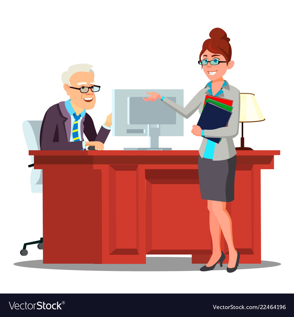Interview candidate introduces herself to staff