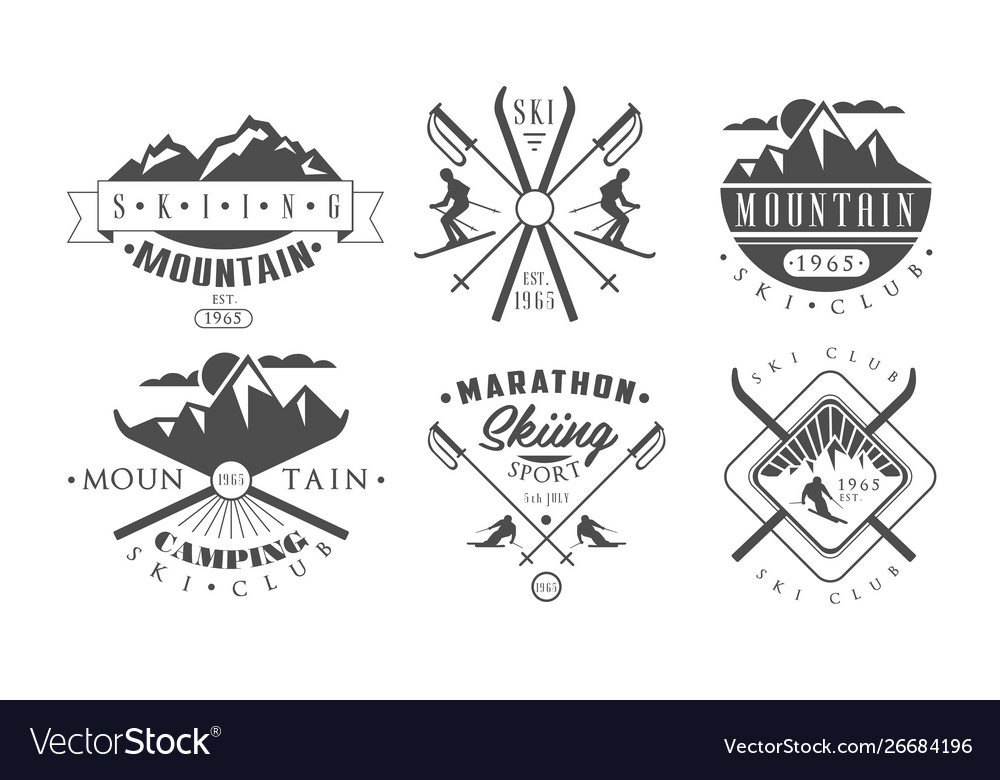 Mountain camping and skiing retro logo templates