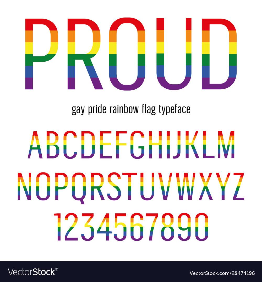Multicolored celebrate pride typeface abc
