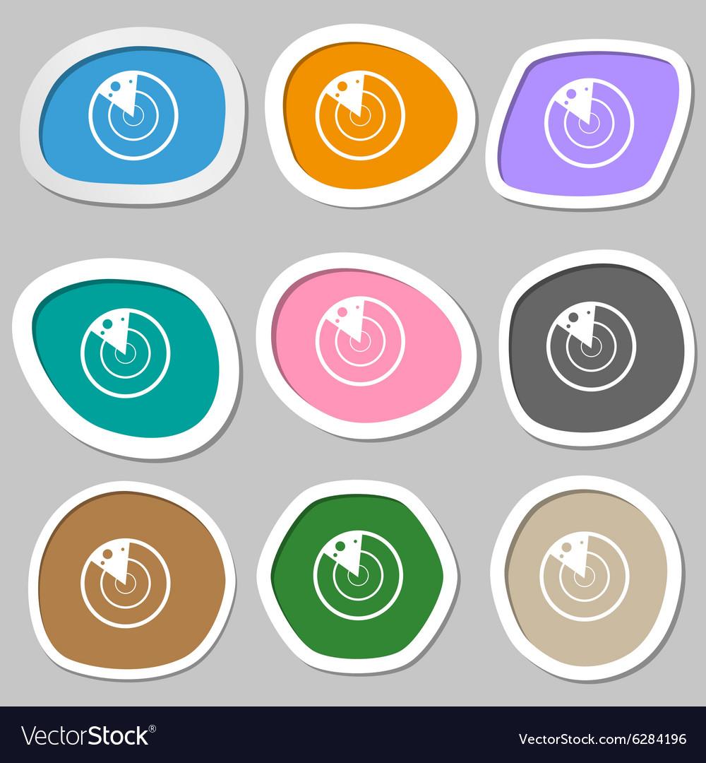 Radar icon sign Multicolored paper stickers