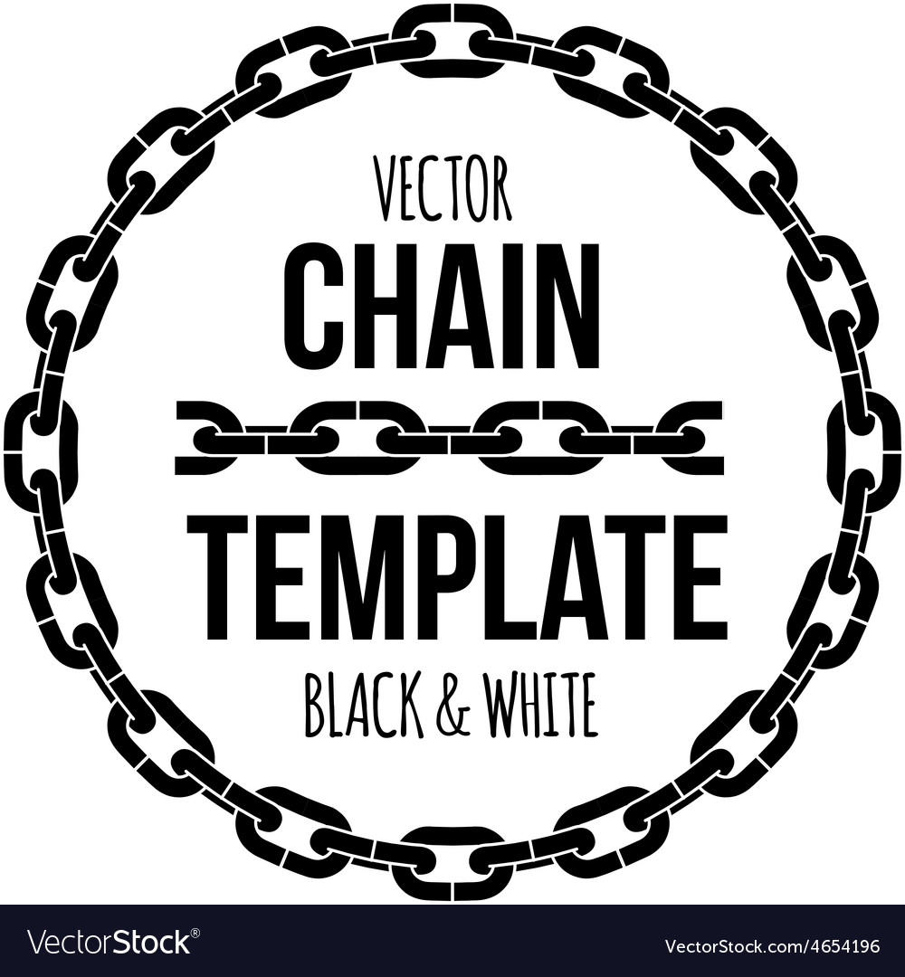 ring shape chain emblem black and white royalty free vector rh vectorstock com chain vector logo chain vector icon
