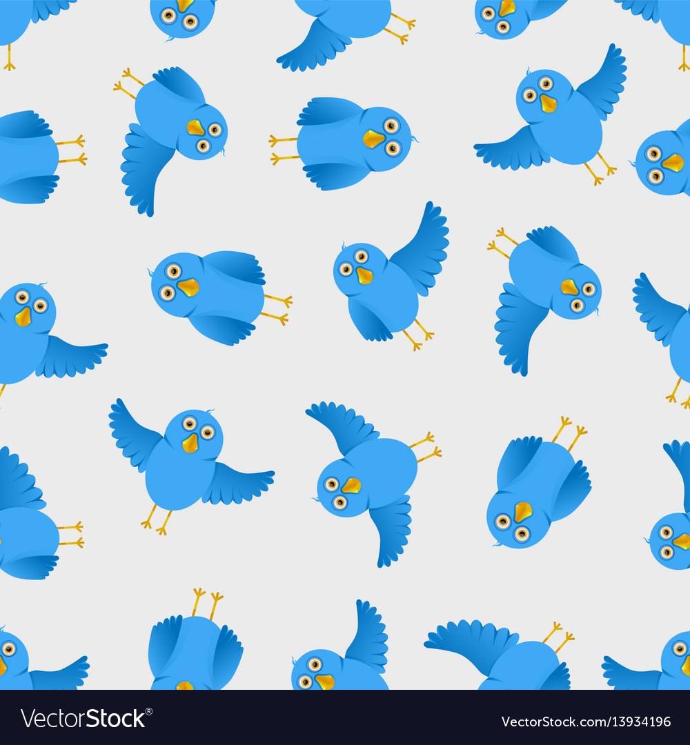 Seamless blue bird pattern