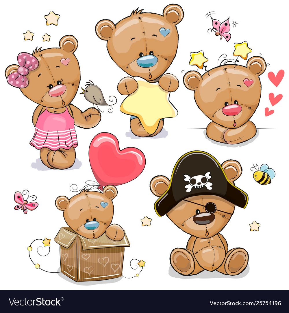 Set cartoon teddy bears on a white background