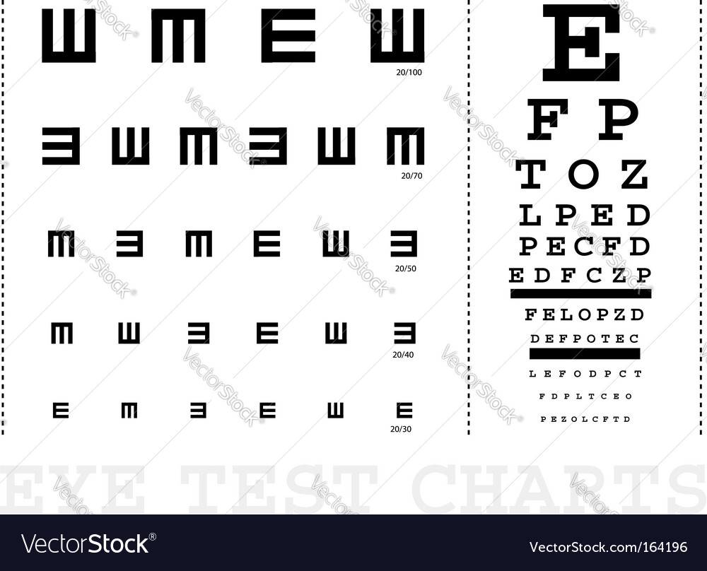 Snellen Eye Test Charts Royalty Free Vector Image