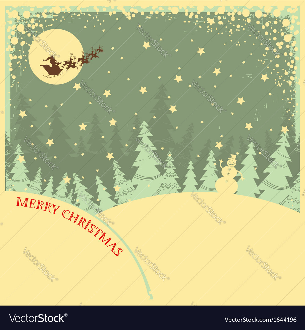 vintage christmas background with text on night vector image vectorstock
