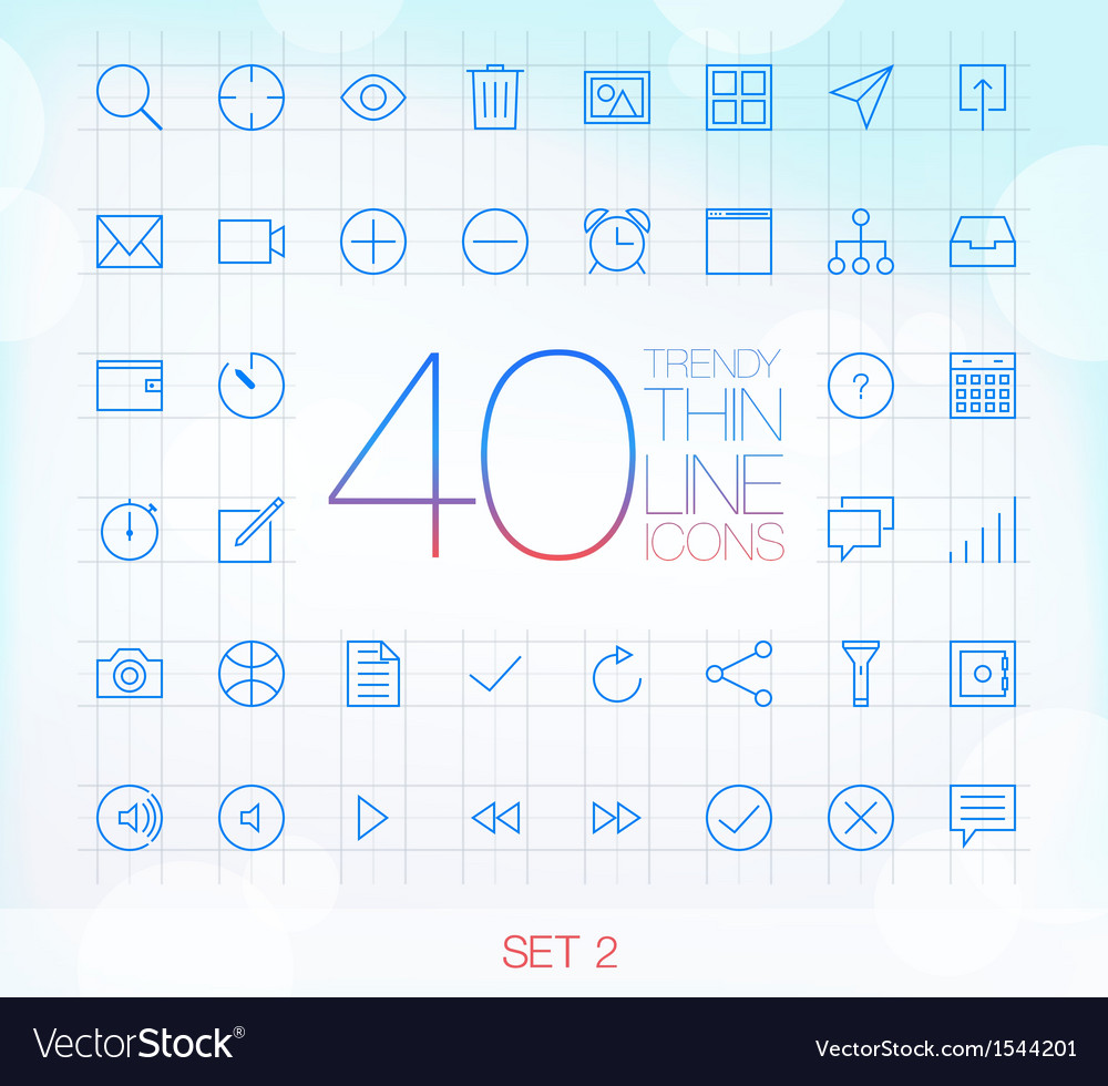 40 Trendy Thin Icons for web and mobile Set 2 vector image