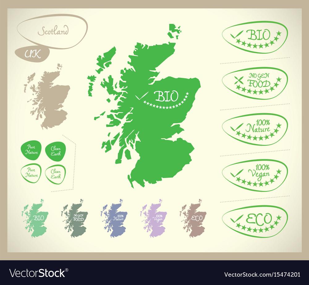 Map Of Uk Scotland.Bio Map Scotland Uk Royalty Free Vector Image