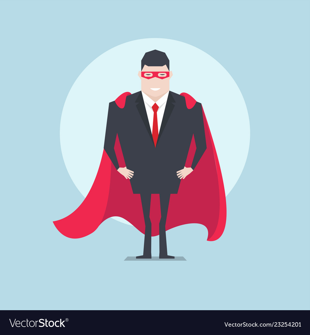 Businessman standing with red cloak or cape
