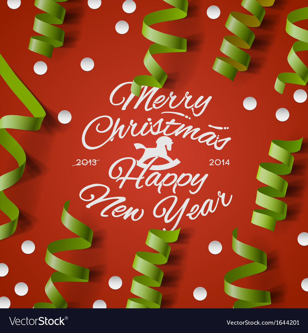 Christmas party card with streamers and confetti vector image m4hsunfo