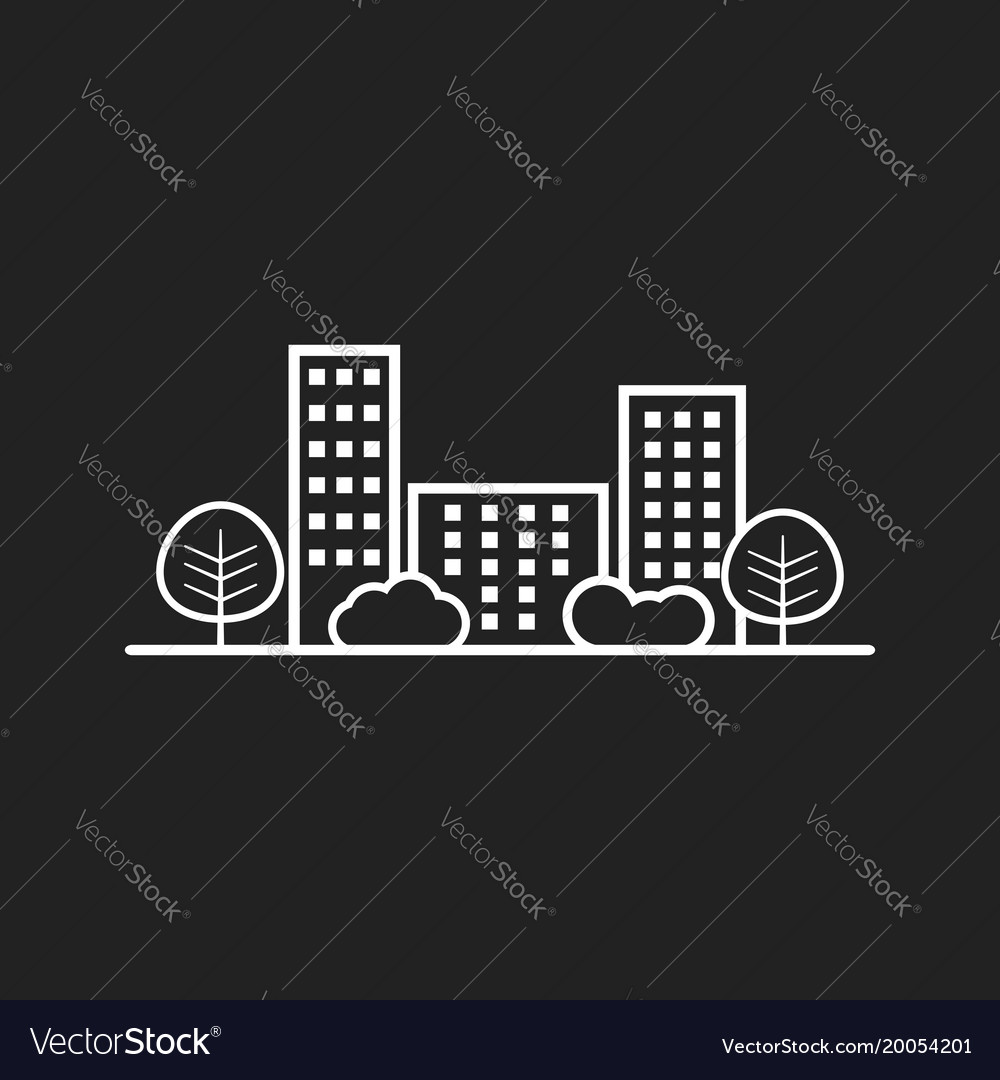 City in flat style building tree and shrub on