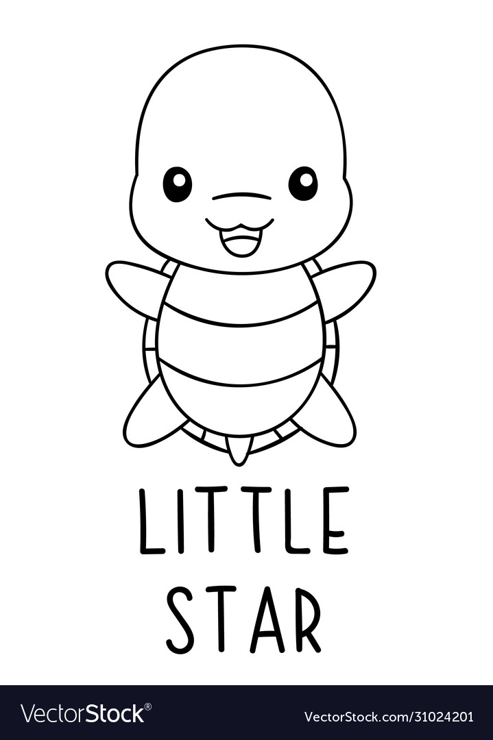Coloring Pages Black And White Cute Kawaii Hand Vector Image