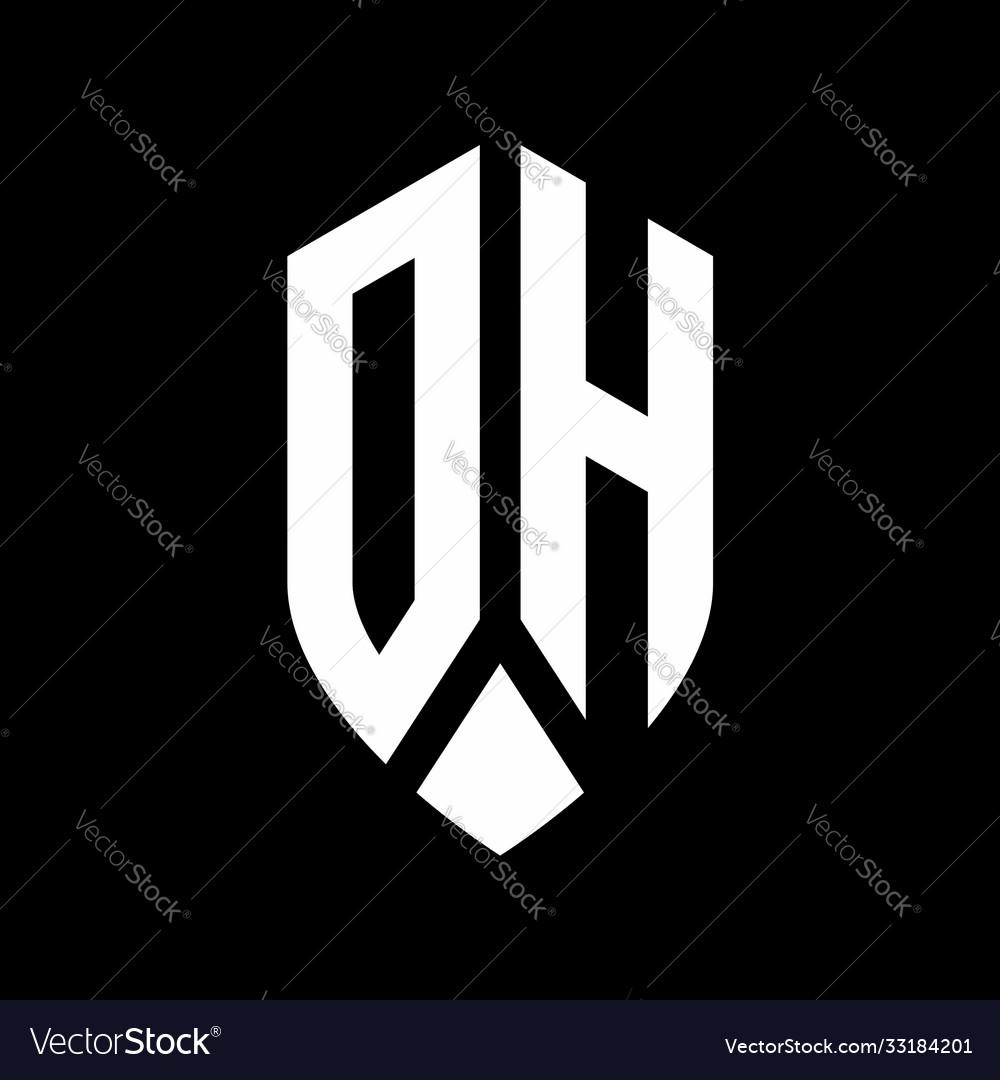 Dh logo monogram with emblem shield style design