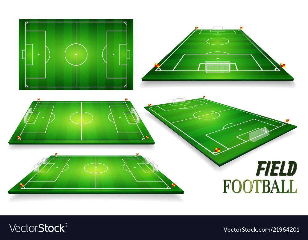 Football field soccer field set perspective eps