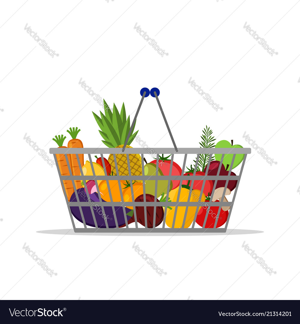 Full basket with healthy food fruits vegetables