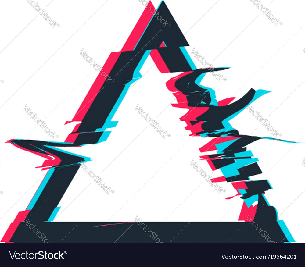 Glitch distortion frame triangle Royalty Free Vector Image